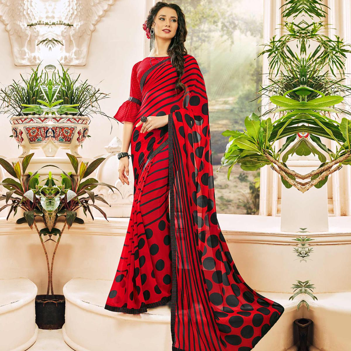 Dazzling Red Colored Casual Wear Printed Georgette Saree