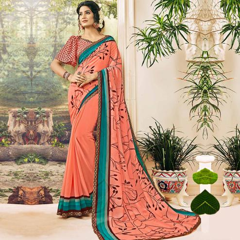 Delightful Peach Colored Casual Wear Printed Georgette Saree