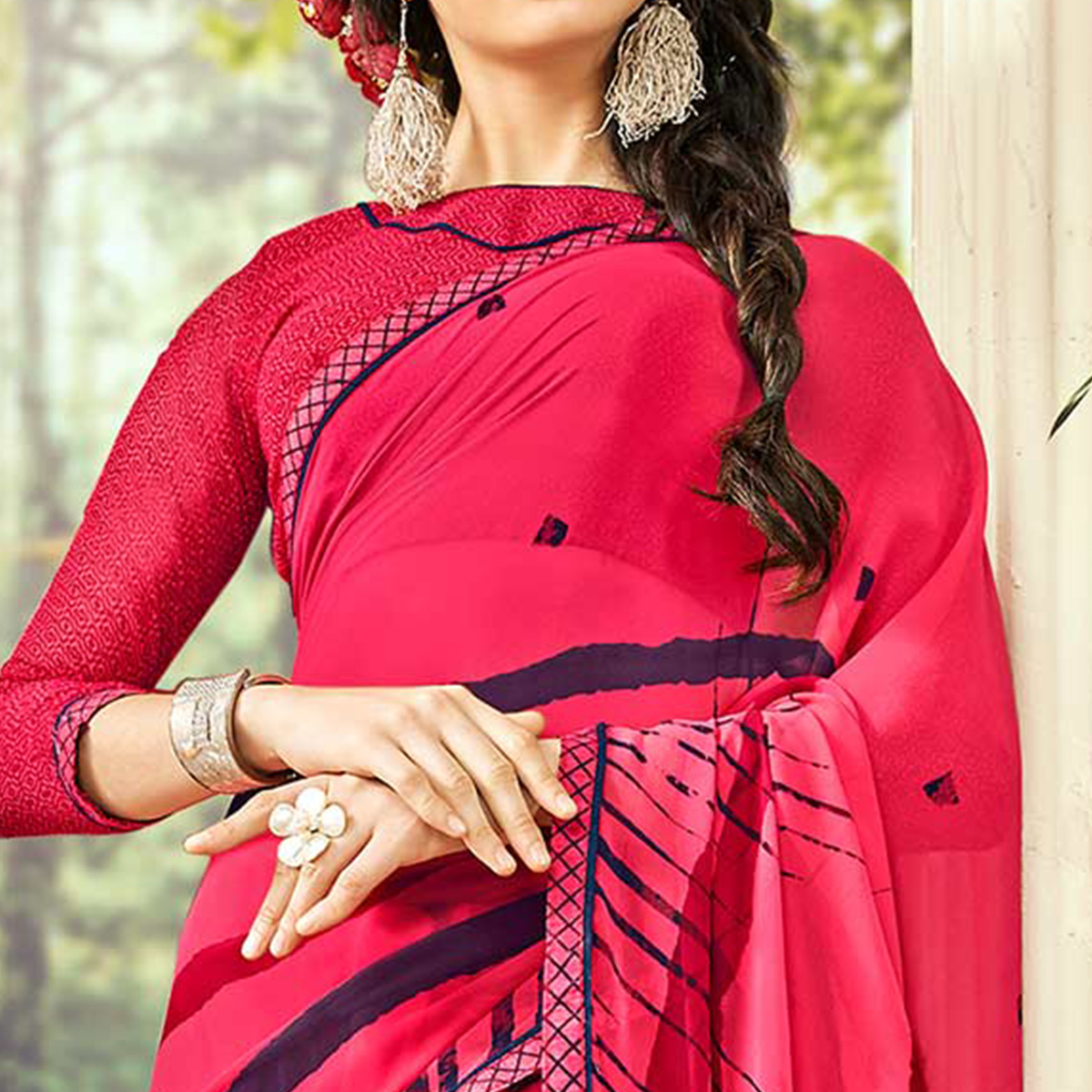Stunning Dark Pink Colored Casual Wear Printed Georgette Saree