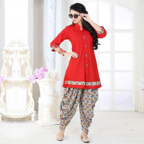 Stunning Red Colored Partywear Printed Rayon Patiala Suit