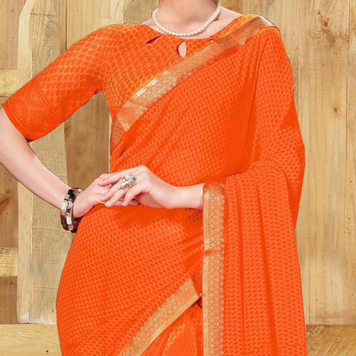 Stylish Orange Georgette Printed Saree