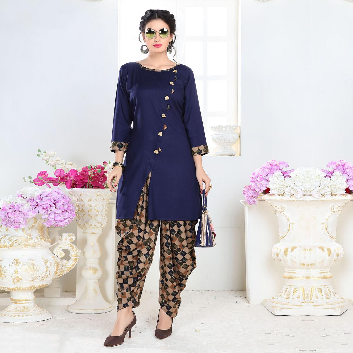 Classy Navy Blue Colored Partywear Printed Rayon Patiala Suit