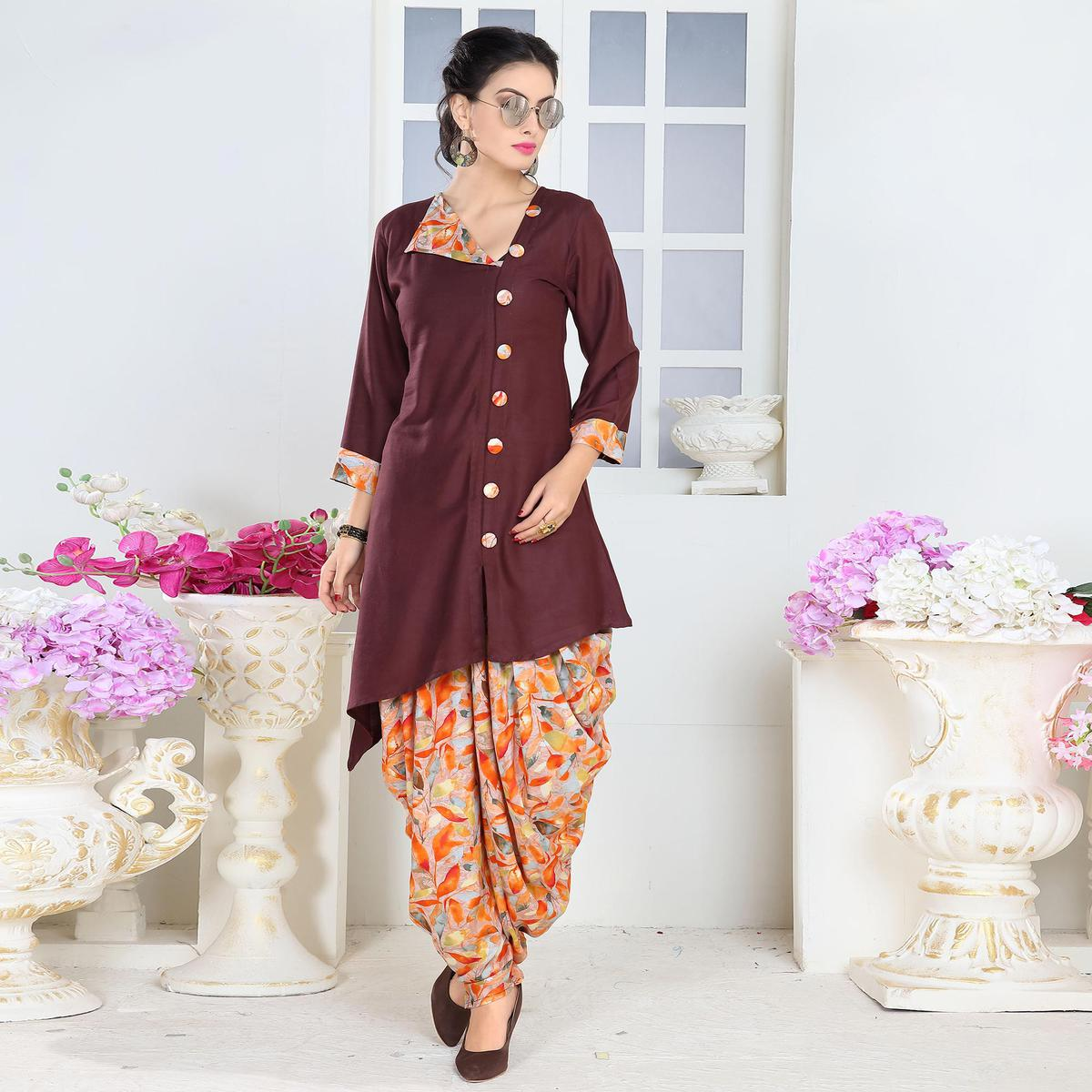 Amazing Brown Colored Partywear Printed Rayon Patiala Suit