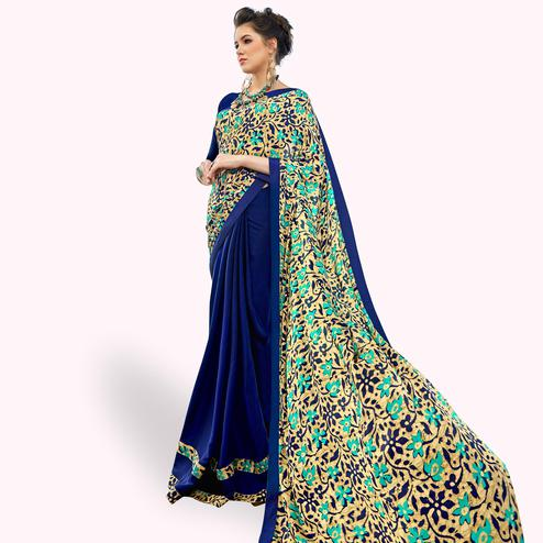 Attractive Blue Colored Casual Printed Crepe Half-Half Saree