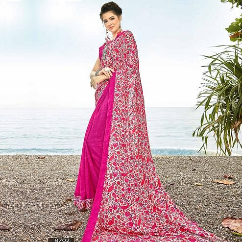 Eye-Catching Magenta Colored Casual Printed Crepe Half-Half Saree
