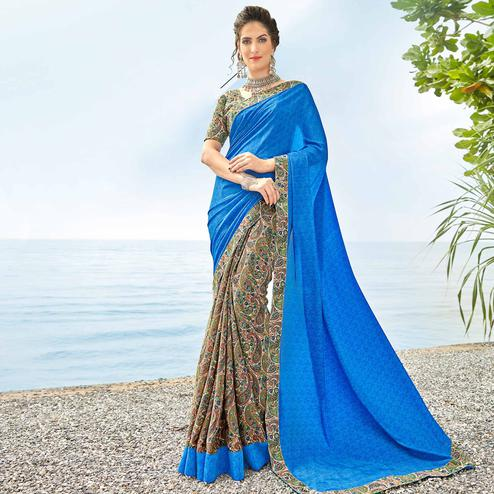 Gleaming Blue Colored Casual Printed Crepe Half-Half Saree