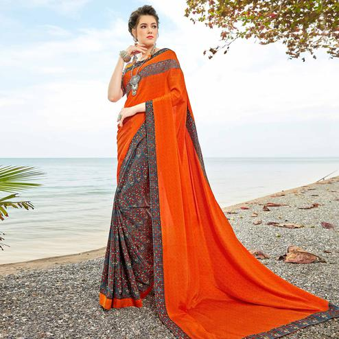 Amazing Orange-Gray Colored Casual Printed Crepe Half-Half Saree