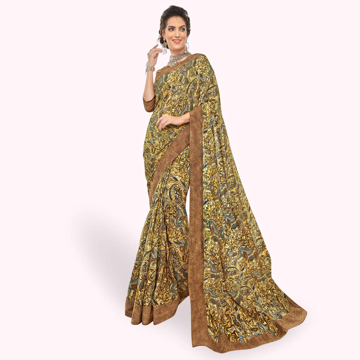 Desiring Yellow color Colored Casual Printed Crepe Saree