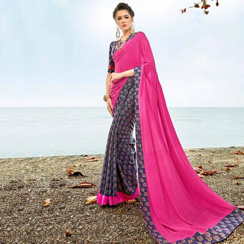 Impressive Pink-Blue Colored Casual Printed Crepe Saree