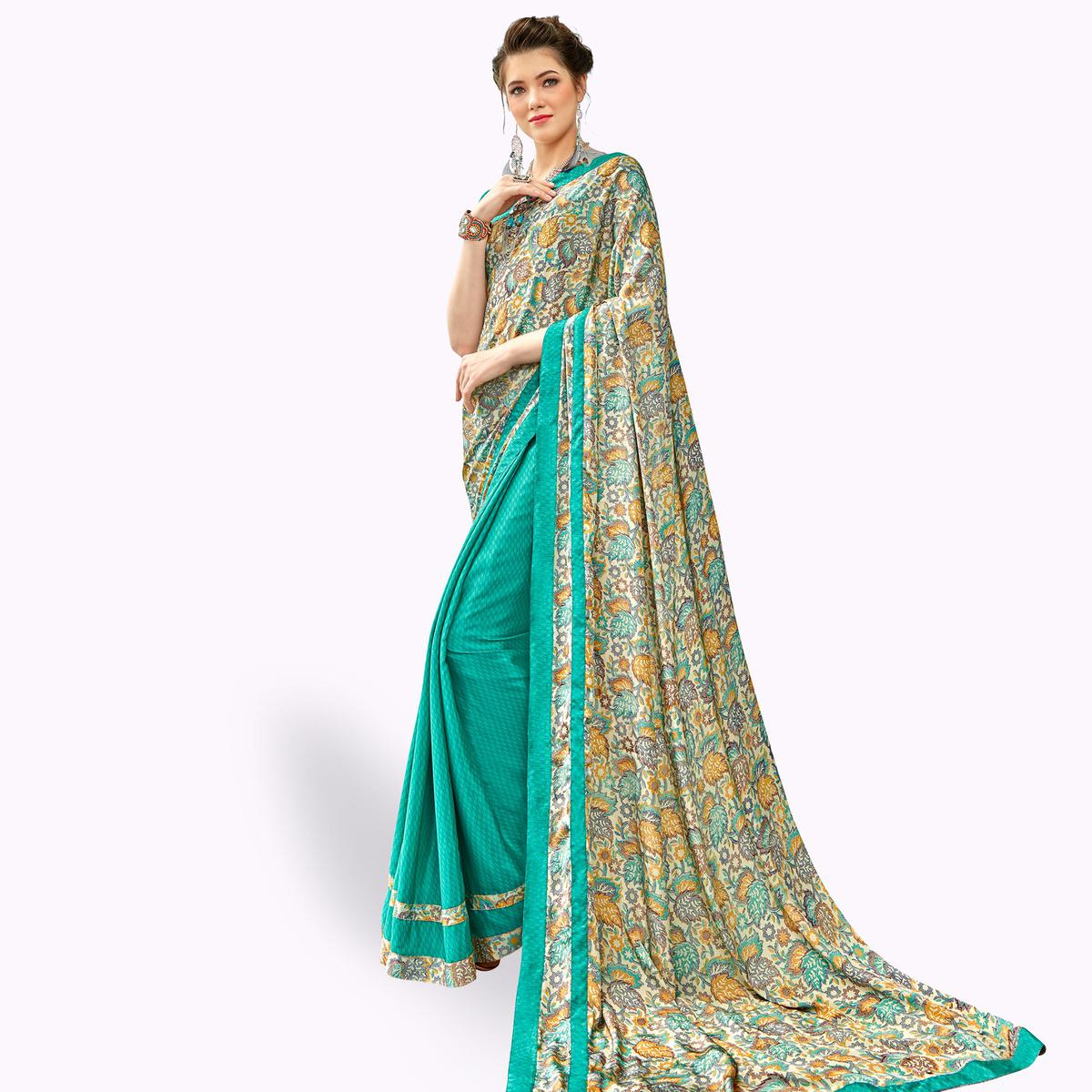 Appealing Turquoise Green Colored Casual Printed Crepe Half-Half Saree