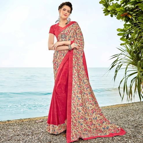 Beautiful Coral Red-Beige Colored Casual Printed Crepe Half-Half Saree