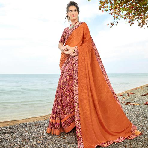 Blooming Dark Orange Colored Casual Printed Crepe Half-Half Saree