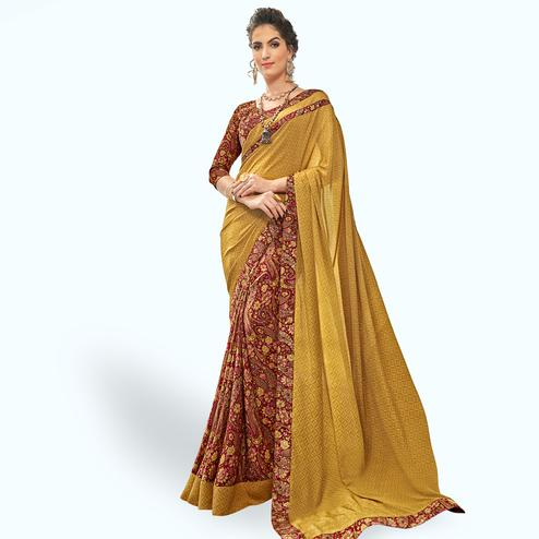 Groovy Yellow-Maroon Colored Casual Printed Crepe Half-Half Saree
