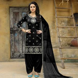 Refreshing Black Colored Party Wear Embroidered Tapetta Silk Suit