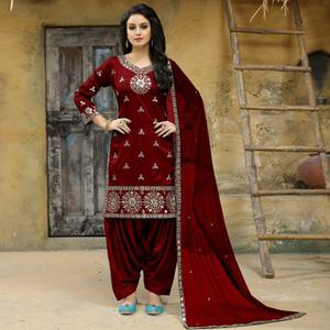 Radiant Maroon Colored Party Wear Embroidered Tapetta Silk Suit