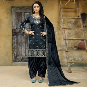 Opulent Grey Colored Party Wear Embroidered Tapetta Silk Suit