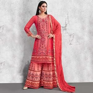 Exceptional Red Colored Party Wear Printed Georgette Palazzo Suit