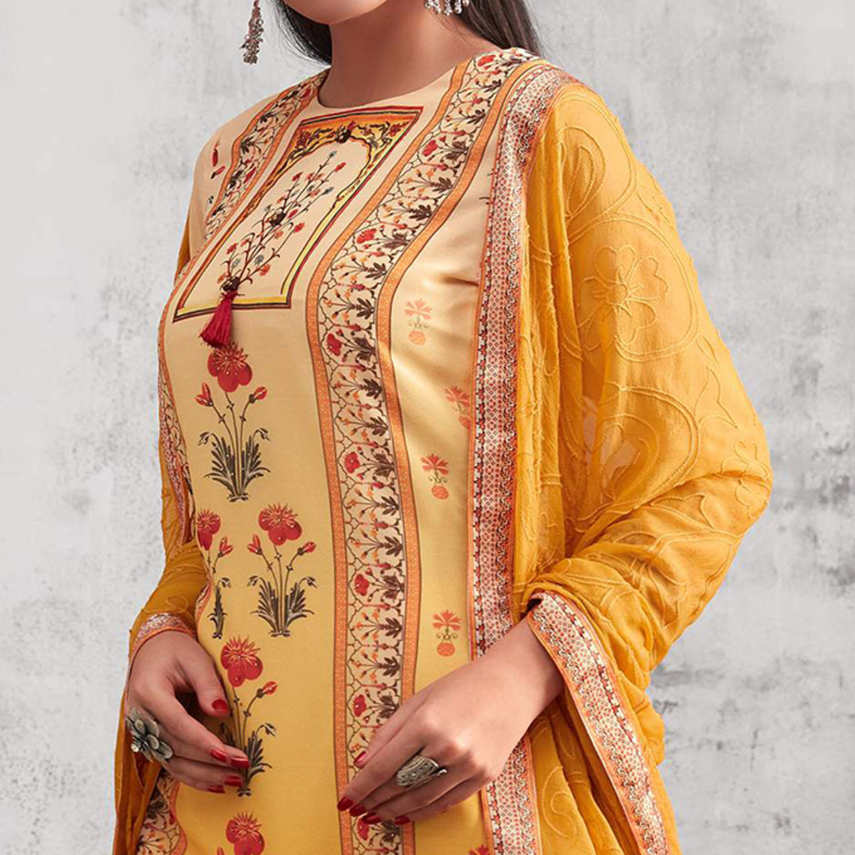 Excellent Yellow Colored Party Wear Printed Georgette Palazzo Suit