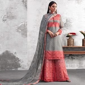 Ethnic Grey Colored Party Wear Printed Georgette Palazzo Suit