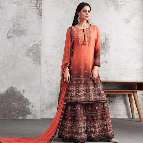 Starring Orange & Brown Colored Party Wear Printed Georgette Palazzo Suit