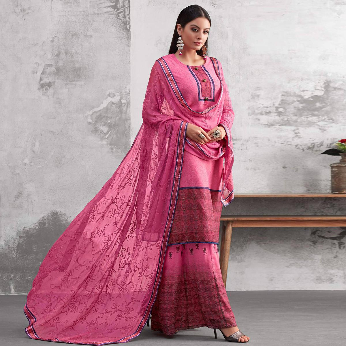 Entrancing Pink Colored Party Wear Printed Georgette Palazzo Suit