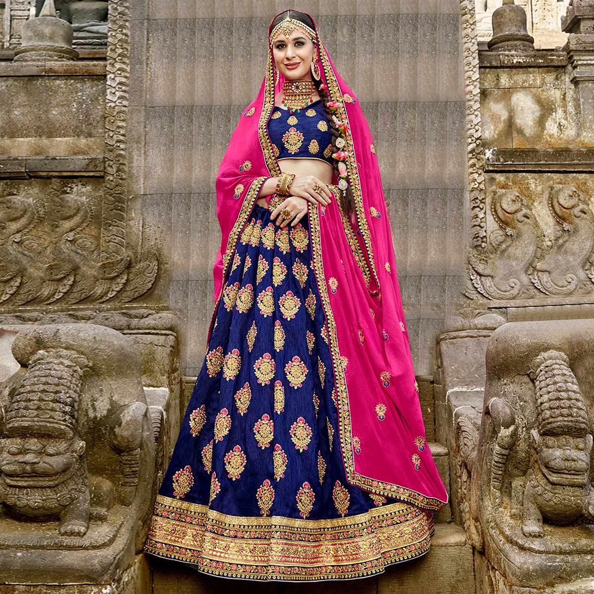 9a693d4221 Buy Stunning Navy Blue Colored Partywear Embroidered Raw Silk Lehenga Choli  for women's online India, Best Prices, Reviews - Peachmode