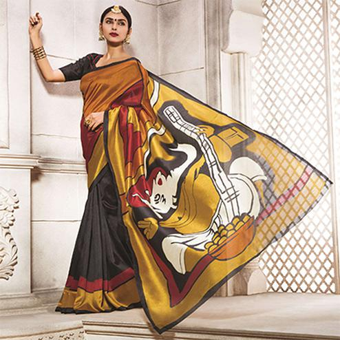 Black - Mustard Digital Printed Saree