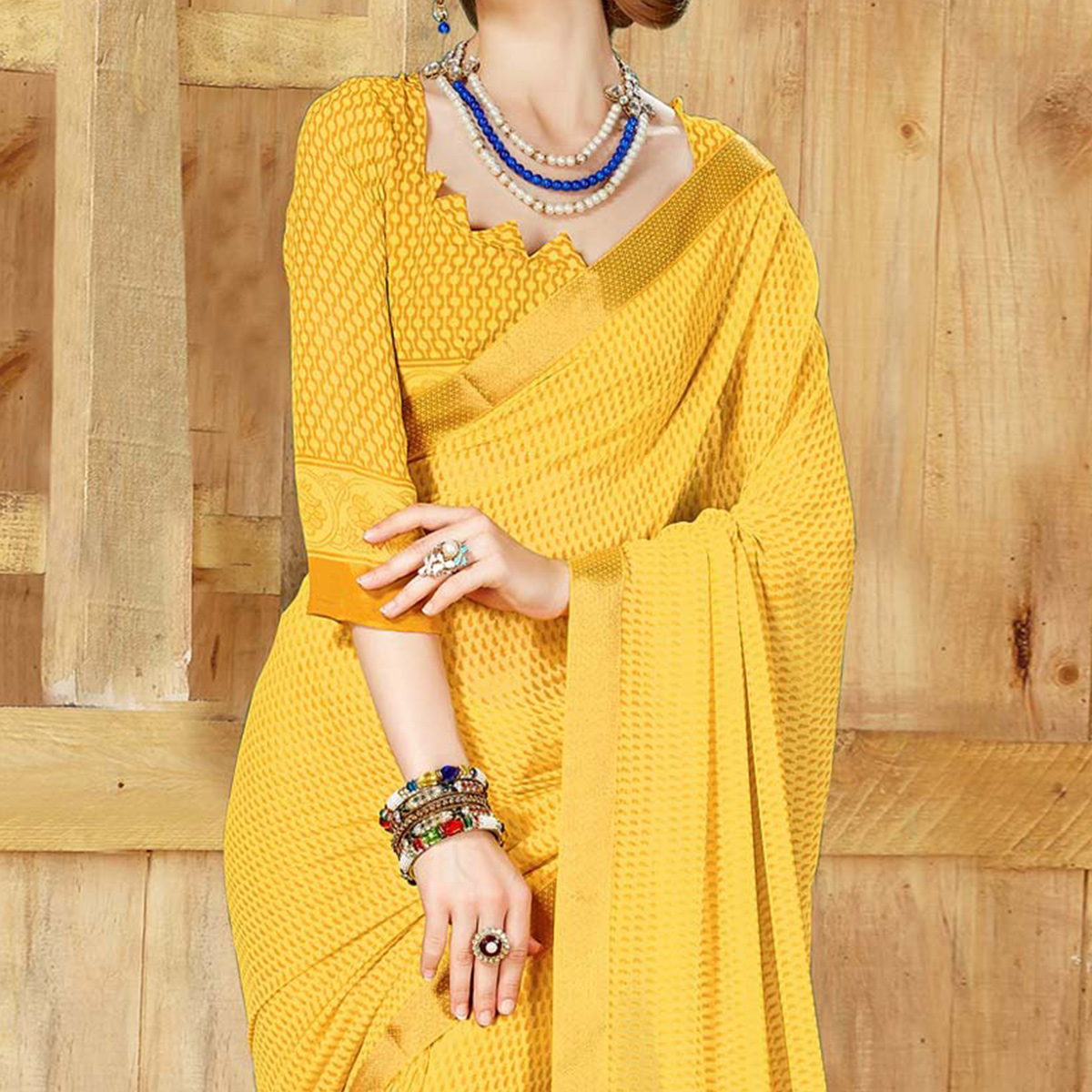Appealing Yellow Georgette Printed Saree