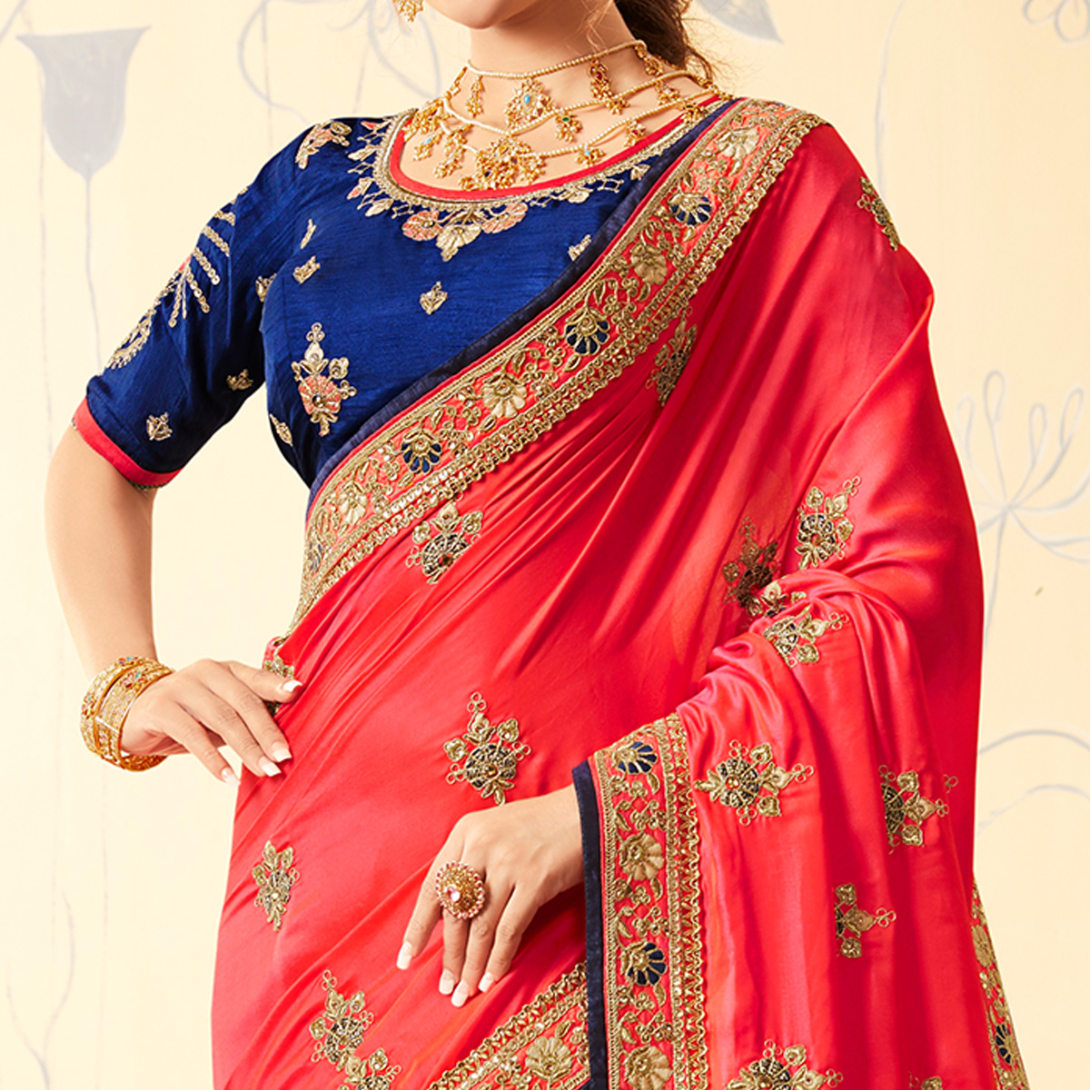 Adorable Navy Blue - Pink Colored Party Wear Embroidered Georgette Saree