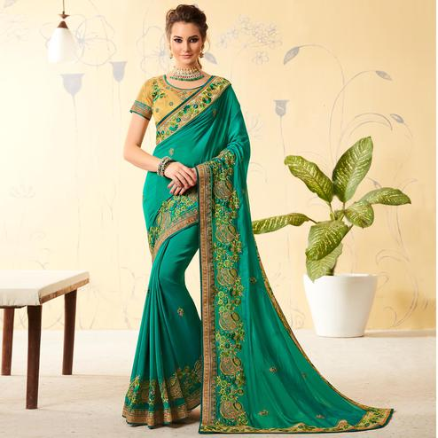 Attractive Green Colored Party Wear Embroidered Georgette Saree