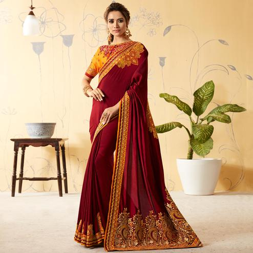 Gorgeous Maroon Colored Party Wear Embroidered Silk Saree