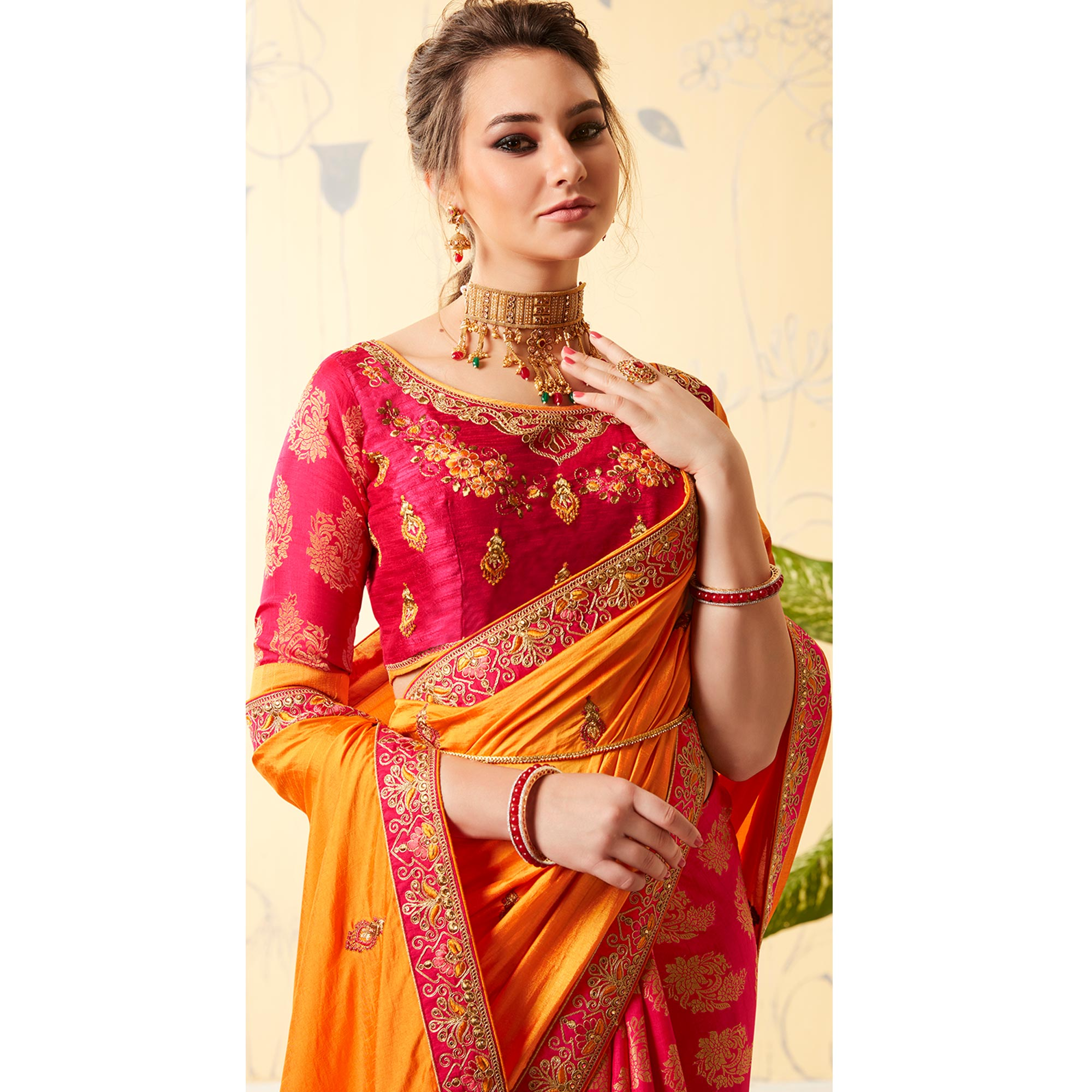 Classy Pink - Yellow Colored Party Wear Embroidered Silk & Jacquard Saree