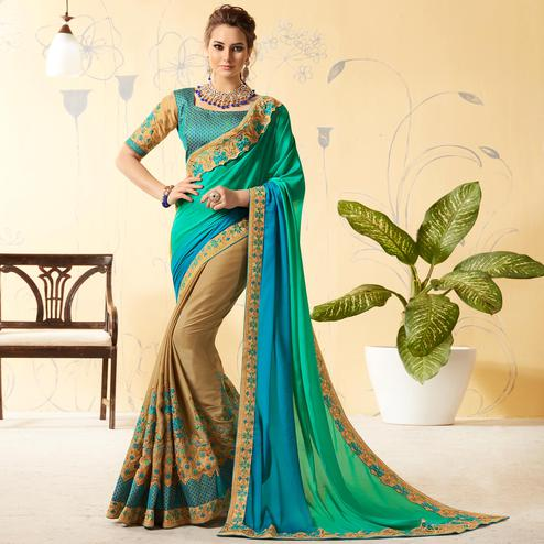 Glorious Beige - Turquoise Colored Party Wear Embroidered Silk & Georgette Saree