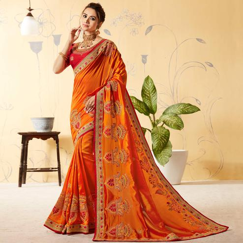 Graceful Orange Colored Party Wear Embroidered Art Silk Saree