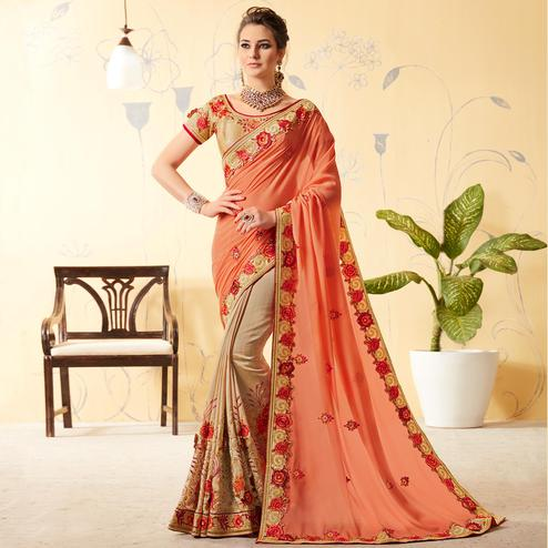 Lovely Beige - Peach Colored Party Wear Embroidered Silk Saree