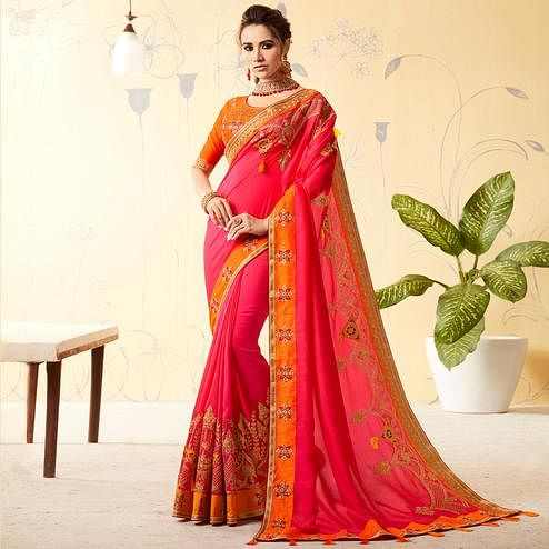 Pretty Deep Pink Colored Party Wear Embroidered Art Silk Saree