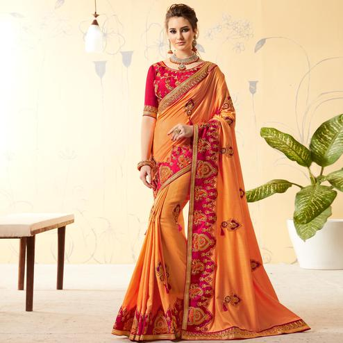 Charming Light Orange Colored Party Wear Embroidered Art Silk Saree