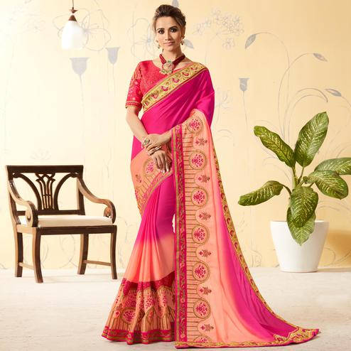 Ravishing Pink - Peach Colored Party Wear Embroidered Silk Saree