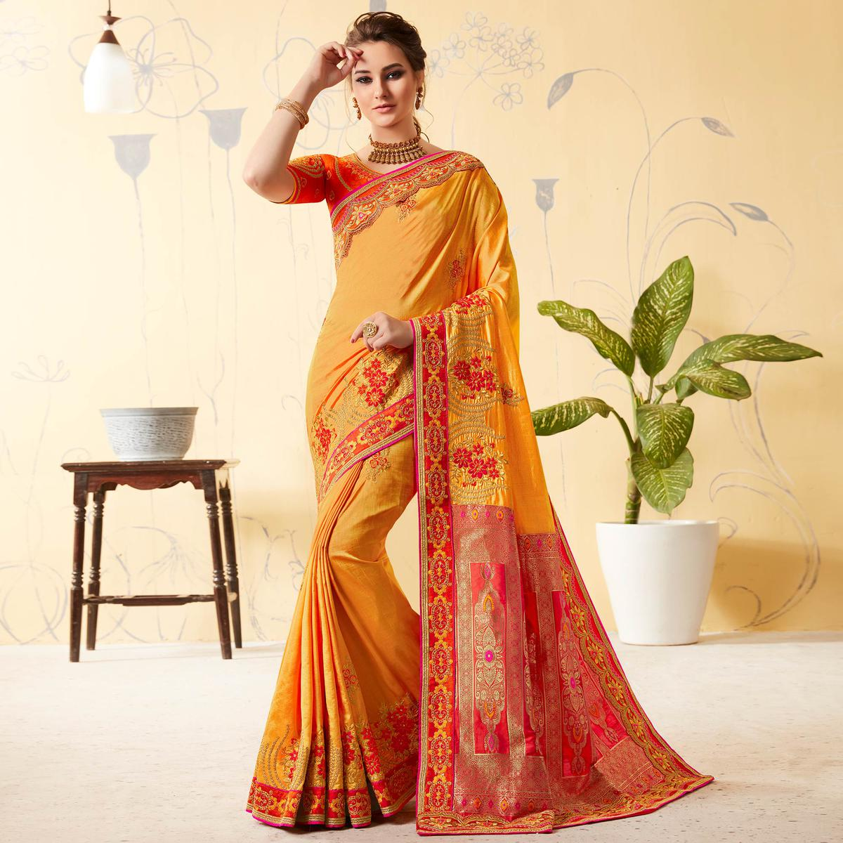 Delightful Yellow Colored Party Wear Embroidered Silk & Jacquard Saree