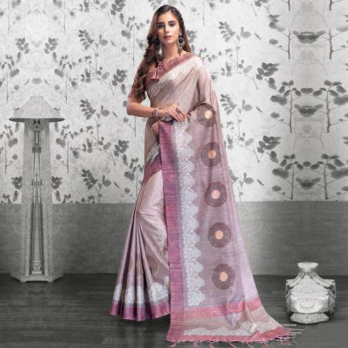 Unique Pastel Pink Colored Festive Wear Printed Manipuri Silk Saree