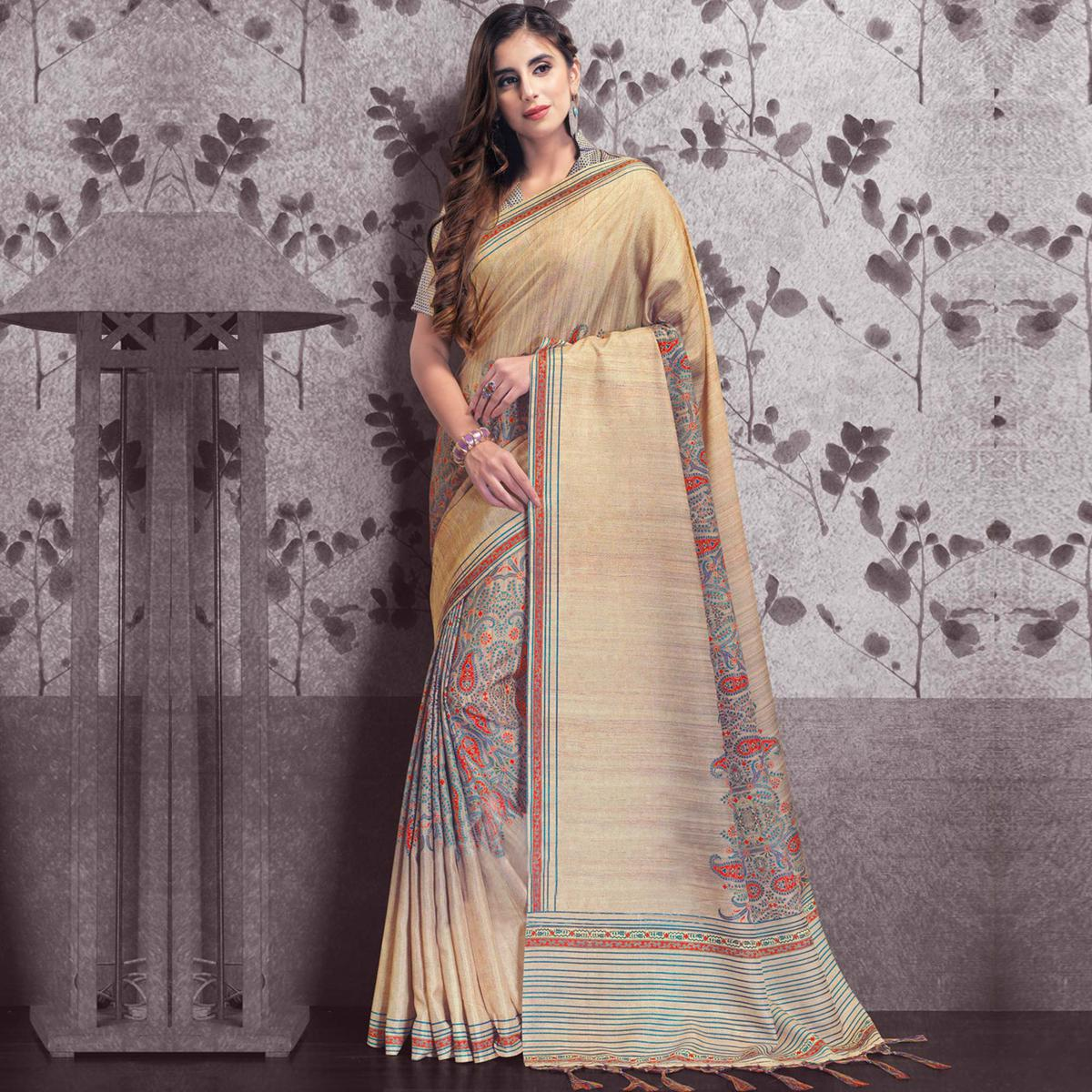 Beautiful Beige Colored Festive Wear Printed Manipuri Silk Saree