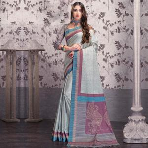 Groovy Gray Colored Festive Wear Printed Manipuri Silk Saree