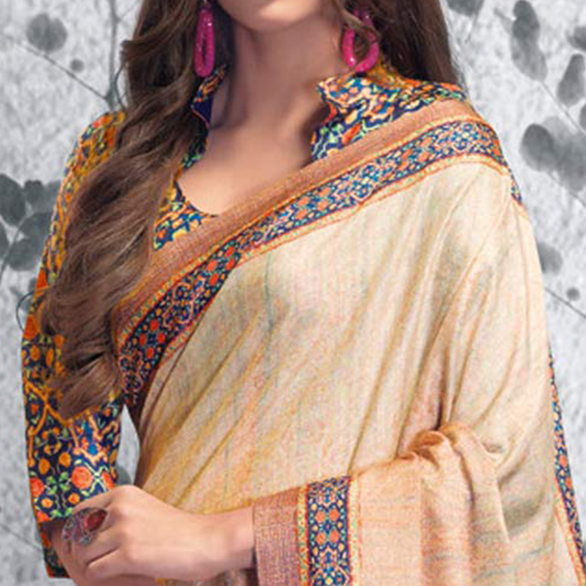 Adorning Cream Colored Festive Wear Printed Manipuri Silk Saree