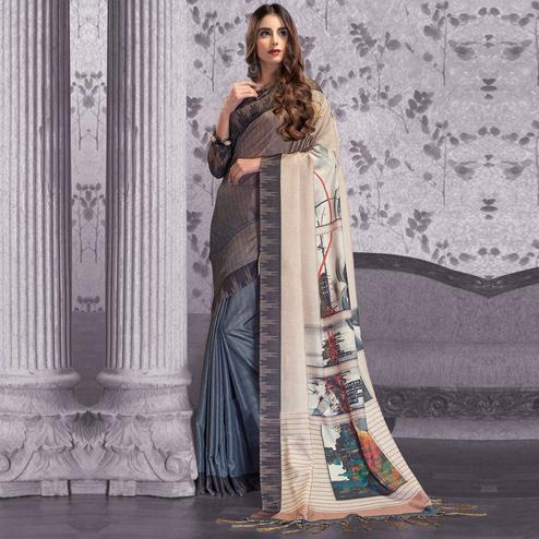 Amazing Brown-Gray Colored Festive Wear Printed Manipuri Silk Half-Half Saree