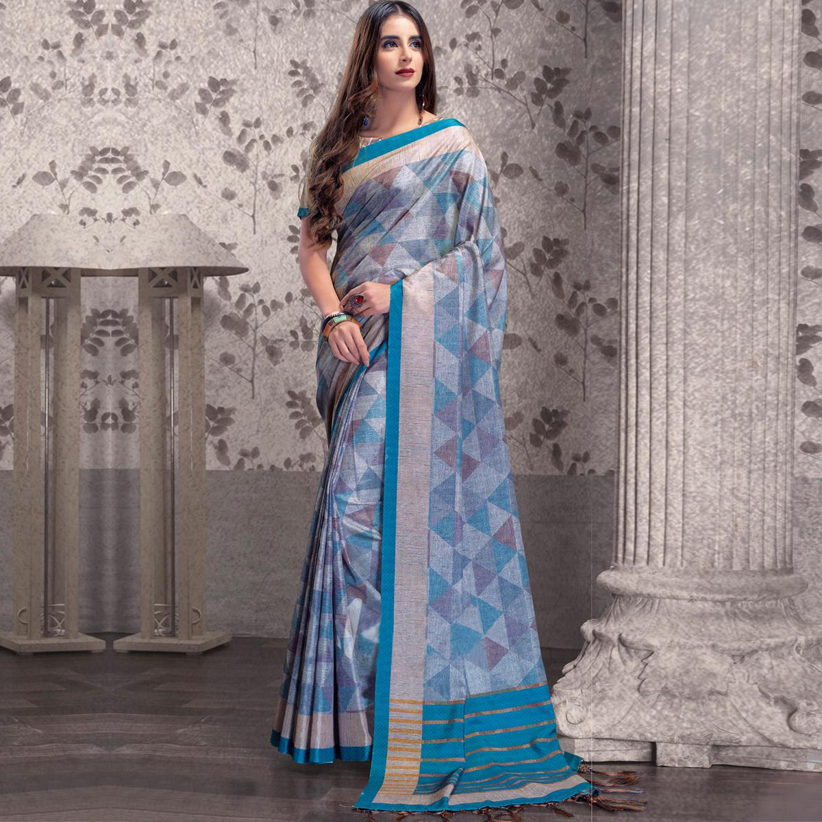 Refreshing Blue Colored Festive Wear Printed Manipuri Silk Saree