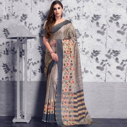 Sophisticated Gray Colored Festive Wear Printed Manipuri Silk Saree