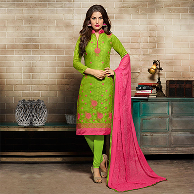 Mesmerising Green Floral Embroidered Salwar Suit