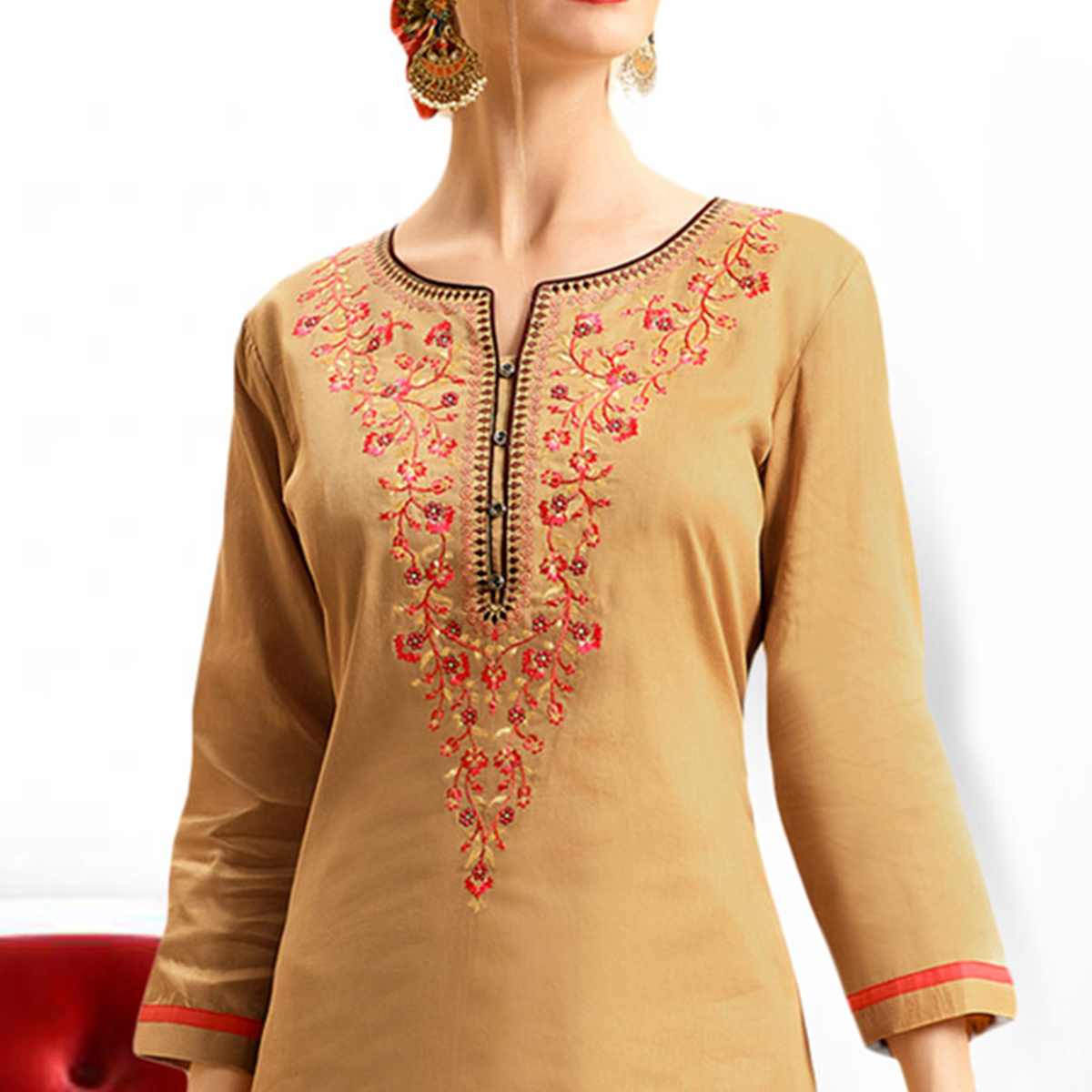 Beige - Brown Colored Embroidered Cotton Lehenga Kameez