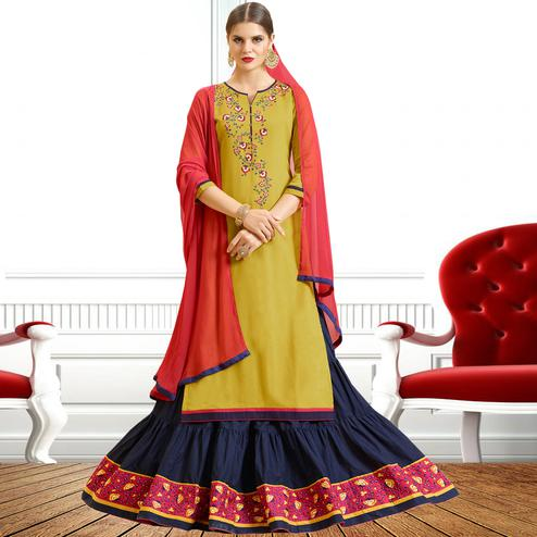 Olive Green - Blue Colored Embroidered Cotton Lehenga Kameez
