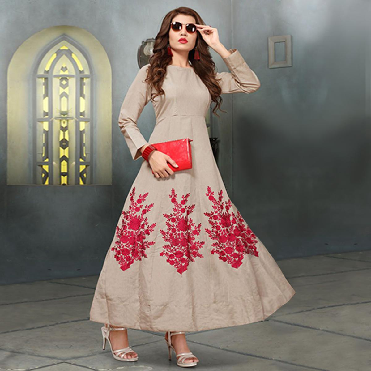 Charming Beige Colored Party Wear Embroidered Banglori Silk Kurti